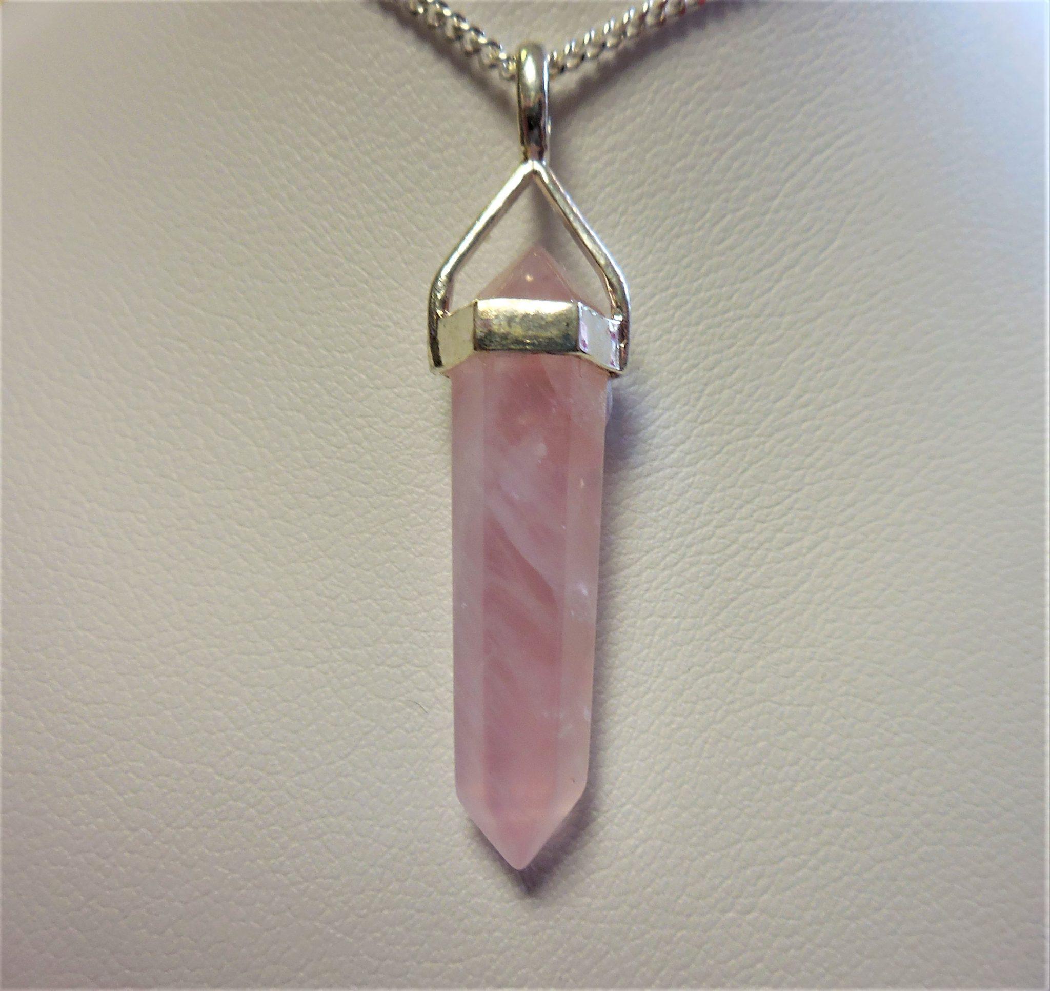 Rose quartz point pendant heaven shop rose quartz point pendant mozeypictures Images