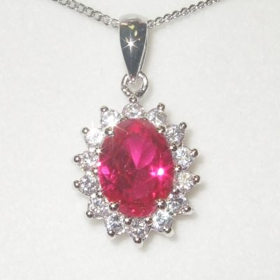 Ruby oval and Cz