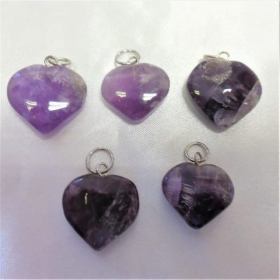 Small amethyst heart pendants